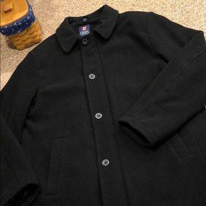 Chaps Men's Wool Blend Black Coat Size Large